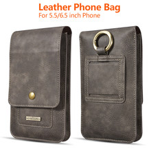 Phone Bag for iPhone 11 Pro Max XR X 6 7 8 Plus Leather Belt Clip Pouch Phone Case Cover for Xiaomi Huawei Universal Waist Bag(China)