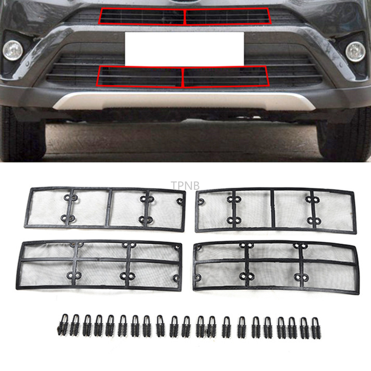 4PCS/set Car Stainless Steel+plastic Front Grille Insect Net for <font><b>Toyota</b></font> <font><b>RAV4</b></font> 2016 2017 <font><b>2018</b></font> <font><b>Accessories</b></font> image