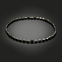 NJ Men Women Necklace Hematite Magnet Golden Beads Magnetic Therapy Care Neck Black Natural Stone Ethnic Necklaces Jewelry