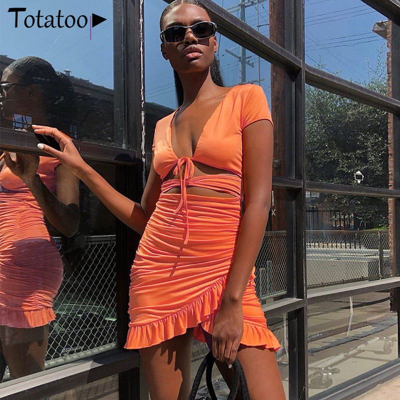 Totatoop Lace Up V-hals Ruches Bodycon Mini Jurk Vrouwen 2020 Zomer Hollow Out Ruches Zonnejurk Beachwear Vestidos 2