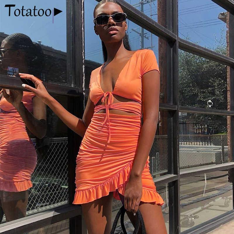 Totatoop v ネックシャーリングボディコンミニドレス女性 2020 夏中空アウトフリルサンドレスビーチウェア vestidos