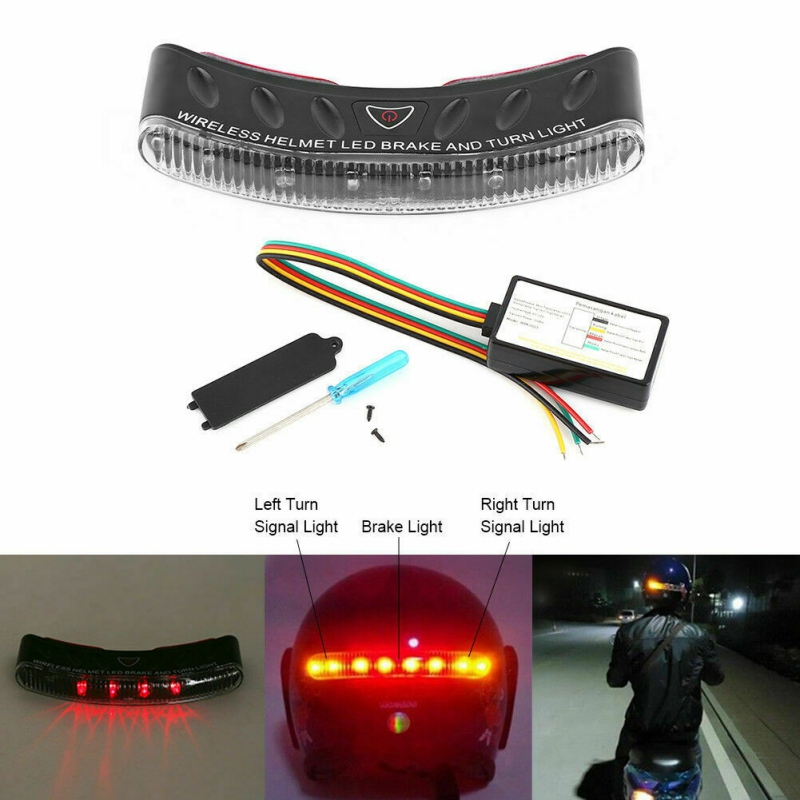 Motorcycle Wireless Waterproof Helmet LED Brake And Turn Signal Stop Light Safety Light High Brightness LED Lights Universal