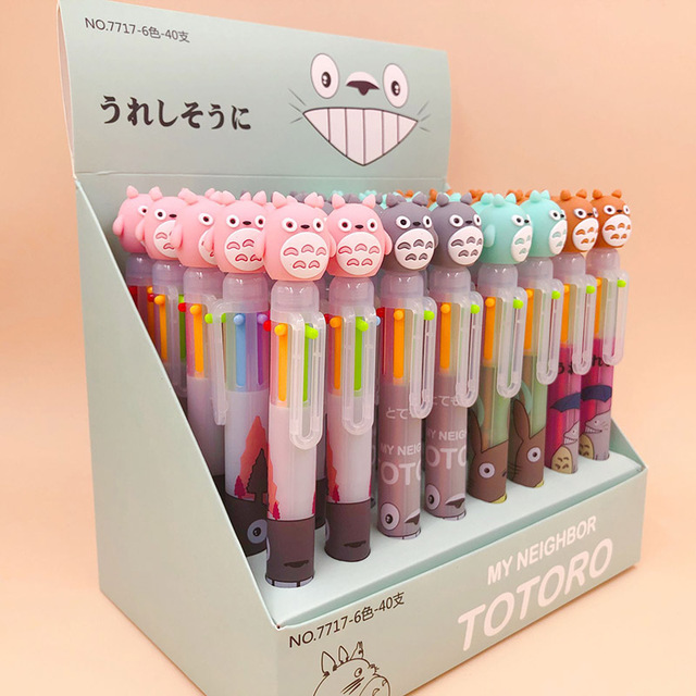 1PC 6 Colors In 1 Ballpoint Pens Cute Totoro Pens Kawaii Multicolor Ball Pens For Kids Gift School Office Supplies Stationery 2