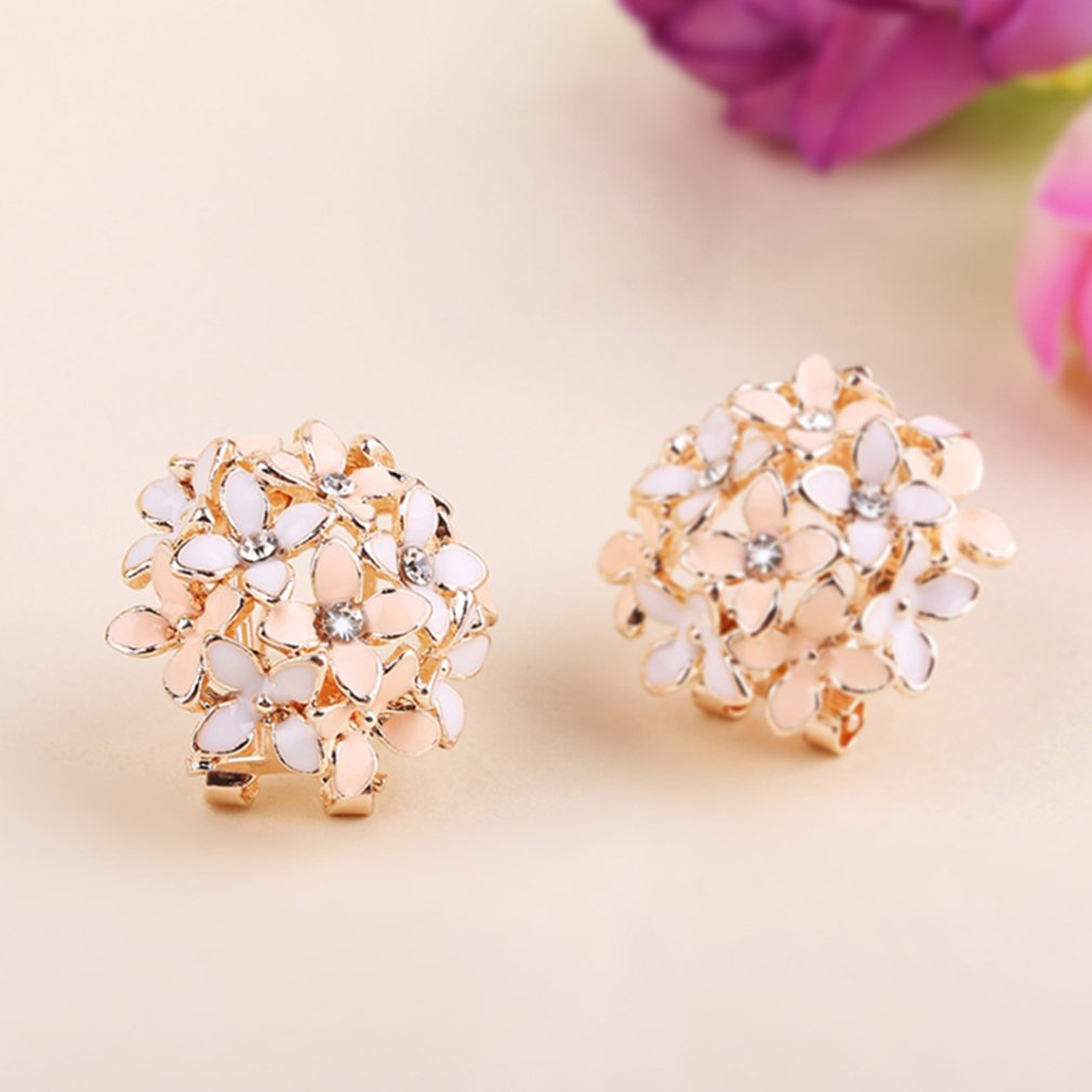 Flower Earrings Sweet Two-color Colorful Earrings With Diamonds Oil Earrings Ear Clips