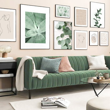 Green Plant Abstract Lines Vintage Poster Nordic Posters And Prints Wall Art Canvas Painting Wall Pictures For Living Room Decor green leaves wall art canvas painting green style plant nordic posters and prints wall art poster pictures for living room 5 19
