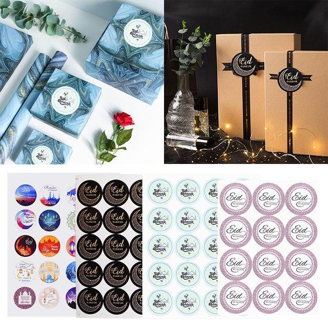 120pcs Nero Eid Mubarak Adesivo di Carta Ramadan Kareem Adesivi Sacchetto del Regalo Etichetta Sigillo di Adesivo Islamico Musulmano Del Partito Decorazione Forniture