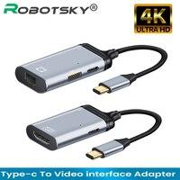 Nuovo 4K USB C a rj45/VGA/DP/HDMI-compatibile/Mini DP cavo tipo C a HDMI Thunderbolt 3 adattatore per MacBook Pro 4K UHD USB-C