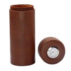GALINER Reizen Sigaar Buis Lederen Sigaar Humidor Draagbare Cederhout Voor Cubaanse Sigaar Opbergdoos W/Sigaren Luchtbevochtiger Hygrometer