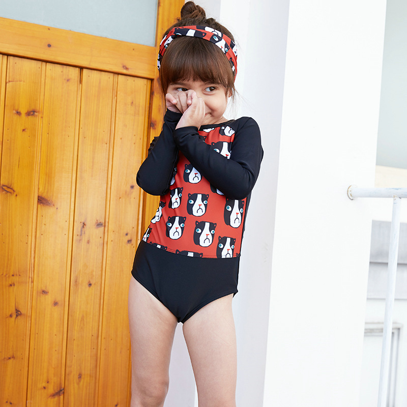 Korean-style New Style KID'S Swimwear Girls Baby One-piece Cartoon Sun-resistant Quick-Dry Hot Springs Swimwear