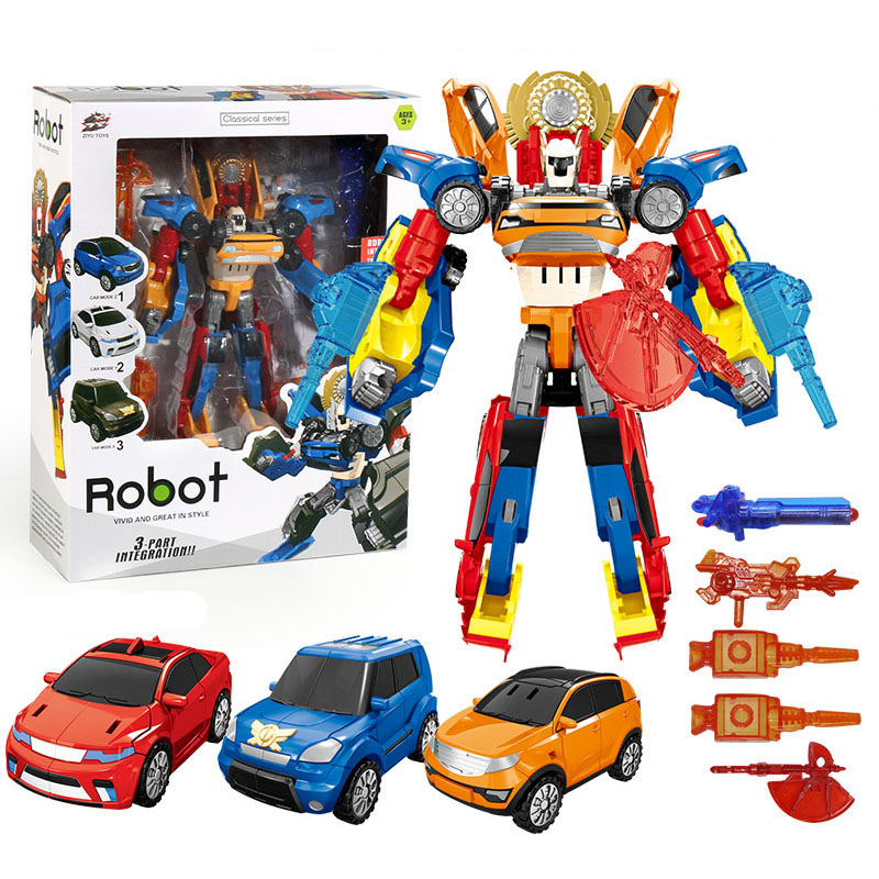 3 In 1 Transformation Tobot Robot Action Figure Toy Car Toys For Children Cartoon Animation Model Set Juguetes image