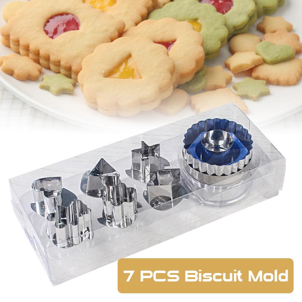 7pcs Cookie Cutters Set 6 Patterns Stainless Steel Baking Mold With 1 Press For Biscuit Cookie Pastry