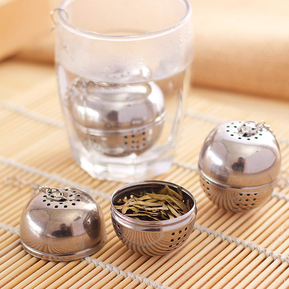 Silver Stainless Steel Tea Infuser Strainer Tea Locking Spice Egg Shaped Ball