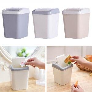 High Quality Mini Trash Can Home Office Bathroom Trash Can Desktop Garbage Box Table Dustbin Sundries Barrel Bins Storage Box(China)