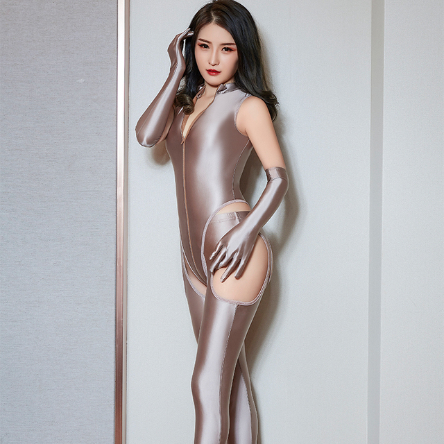 High Elasticity Woman Sexy Sets Temptation Zipper Bodysuit Hollow Out Open Crotch Pants Porn Club Costume Oil Glossy 4 Pce Sets 4