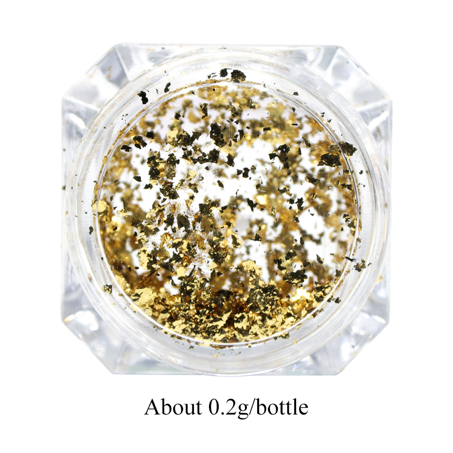 0.2g Holographic Glitter Powder Nail Art Mirror Firework Sequins Gold Silver Pillette Irregular Flakes Nails Decor LYCB0102 (2)