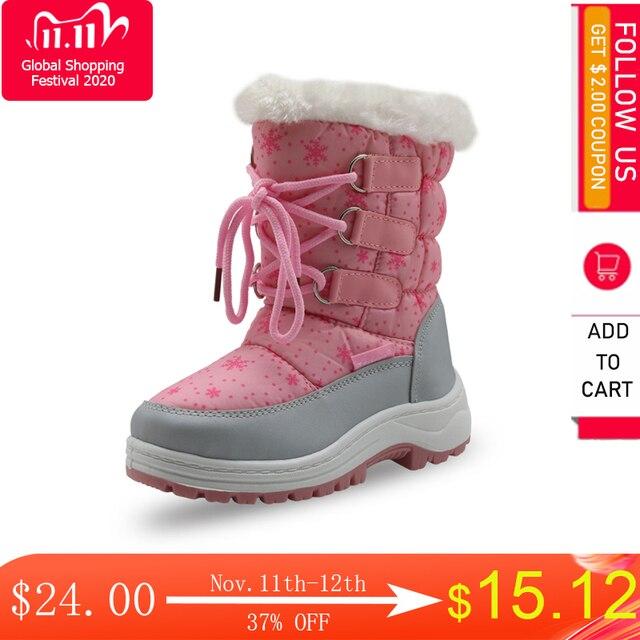 Apakowa/Зимние плюшевые зимние сапоги до середины икры для девочек уличные Прочные ботинки принцессы на молнии для маленьких детей, нескользящая обувь, снегоступы детские, зимние сапоги для девочек, ботинки детские