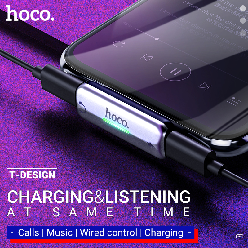 Hoco Audio Converter For Lightning Headphone Adapter For Iphone Earphone To Usb Jack Charging Music Adapter Dongle Charger