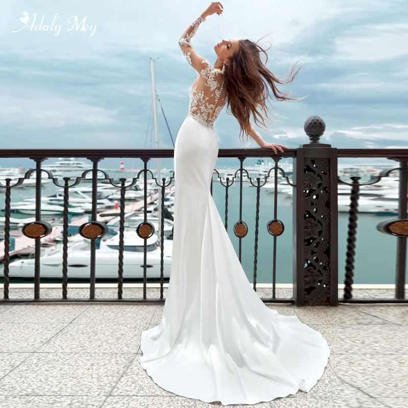 Adoly Mey Elegant Scoop Neck Satin Brush Train Mermaid Wedding Dress 2020 Luxury Appliques Beaded Long Sleeve Vintage Bride Gown