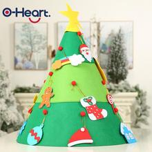 OHEART DIY Felt Christmas Tree hat with Ornaments Artificial Kids Toys Party Decoration New Year 2020