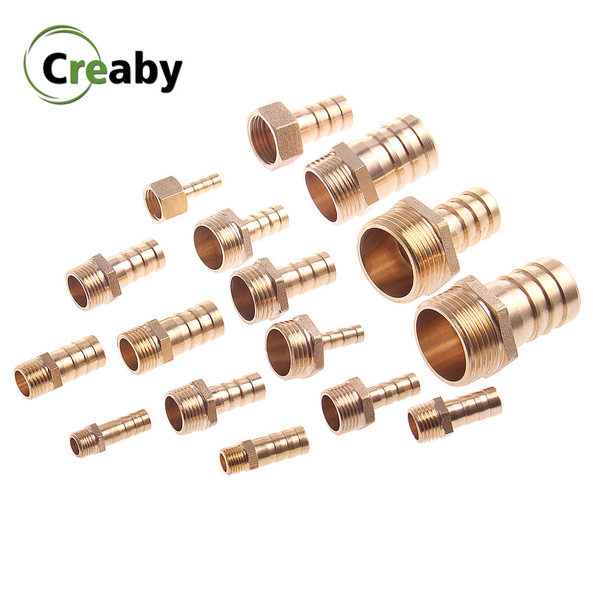 "Brass Pipe Fitting 6mm - 25mm 8 10mm Hose Barb Tail 1/8"" 1/4"" 3/8"" 1/2"" 3/4"" 1"" BSP Male Connector Joint Copper Coupler Adapter"