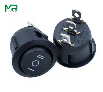 цена на 5PCS  KCD1  Round Black 3 Pin SPST 3 Position ON-OFF-ON 2 Position ON-OFF Rocker Boat Switch 6A 220V 10A 125V