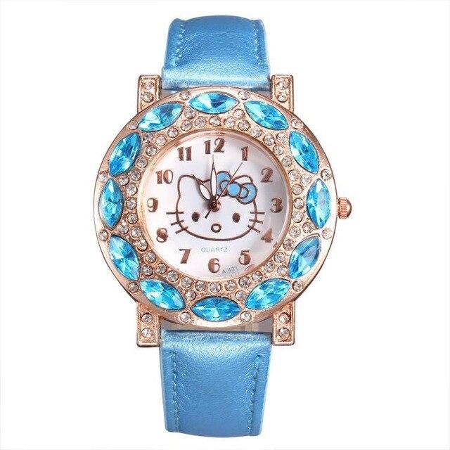 Kt gato crianças relógio de pulso de quartzo moda casual menina relógio crianças bonito pulseira de silicone atches linda 6