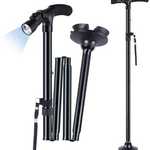 Crutches Cane Walking-Stick Trusty Telescopic Lightweight Folding Elder LED for The Great-Gifts