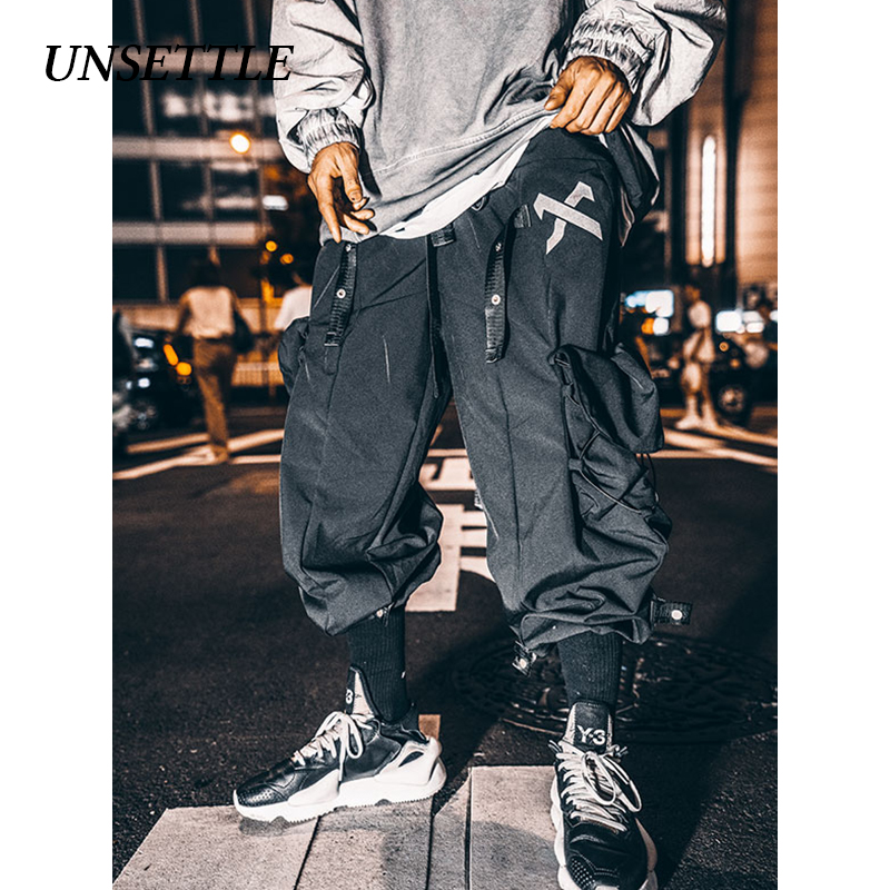 UNSETTLE Men's Multi-pocket Pants Hip Hop Casual Male Tatical Joggers Trousers Tactics-pants Reflective Casual Streetwear Pants