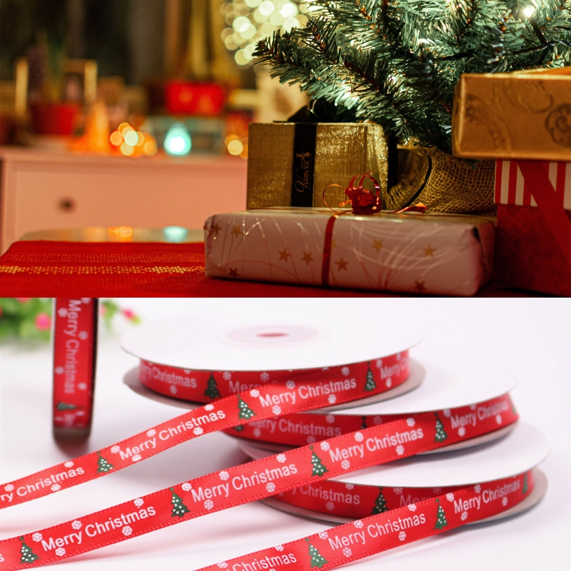 10 Rolls 25 Yards 3/8 Inch Merry Christmas Tree Snowflake Printing Red Ribbon for DIY Crafts Gift Wrapping Xmas Decor