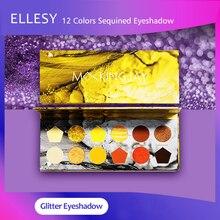 ELLESY אפוי צללית צבעים 12 צבע מבריק פיגמנט איפור צללים צבעים גליטר לעיניים ופנים קוסמטיקה