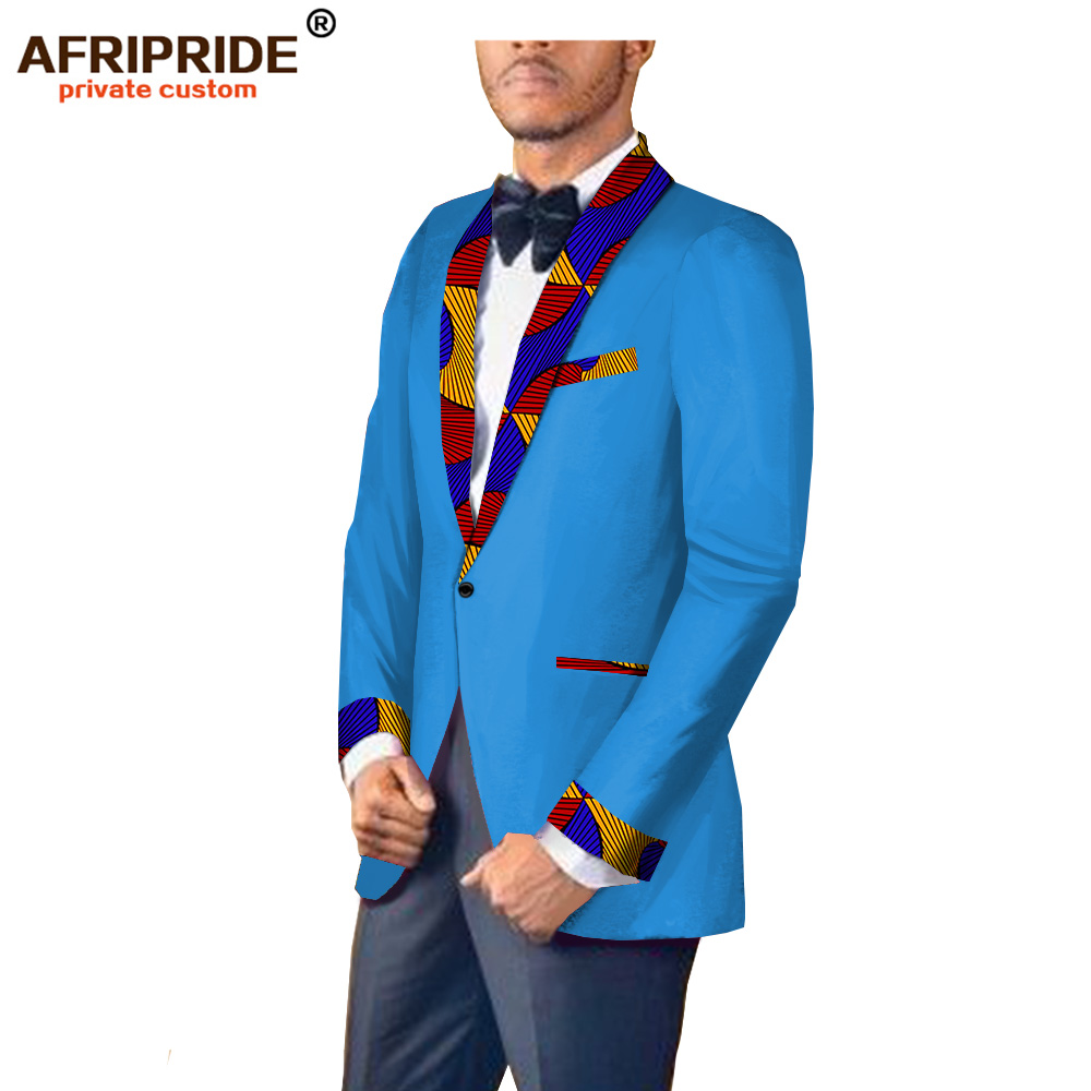 Купить с кэшбэком 2018 african print spring&autumn suit jacket for men AFRIPRIDE tailor made full sleeve single button fromal suit jacket A1814002