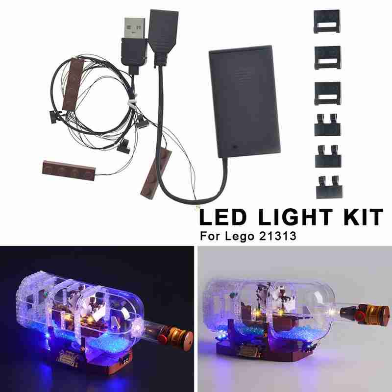 LED Light Kit For LEGO 21313 Ideas Serie Compatible 16051 Creator Ship In A Bottle DIY Luminous Assembled Building Blocks Bricks