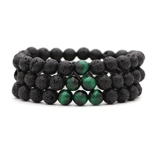 Мужской браслет с натуральными зелеными тигровыми глазами из бисера, новая мода, браслет из бисера в стиле хип-хоп, украшение в виде Будды для мужчин и женщин, подарок