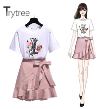 Trytree 2020 Summer Two piece set Casual O-neck Letter Top +