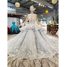 BGW 31121ht Royal Ball Gown Evening Dress With 3d Petal Flowers Tulle Long Sleeves O Neck Beaded Dubai Women Occasion Dress 2020