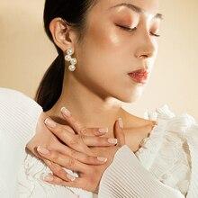 Brass Wave Faux Pearl Earrings Women Wedding Jewelry Gown T Show Runway Rare Japan Korean Fashion Ins