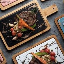 Имитация мраморная керамика блюдо для стейков с деревянным поднос для завтрака подносы для десерта ЛОТОК блюдо для сервировки украшения набор посуды