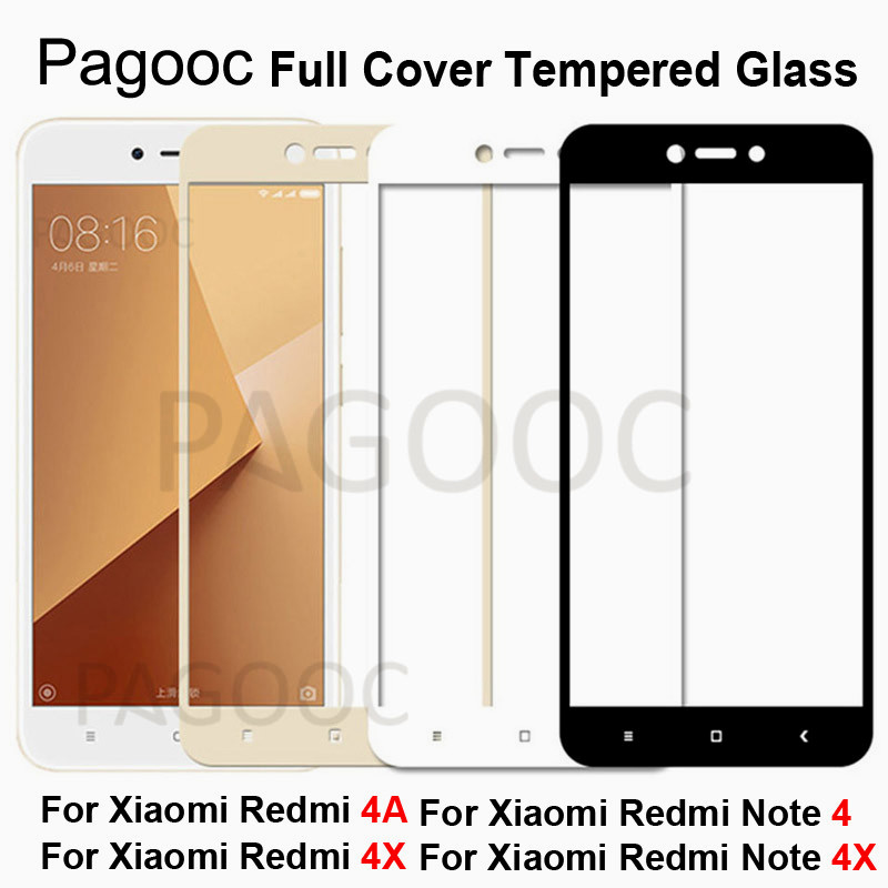 Full Cover Tempered Glass On The For Xiaomi Redmi 4X 4A Redmi Note 4X Pro 4 Global Version Screen Protector Glass Toughened Film