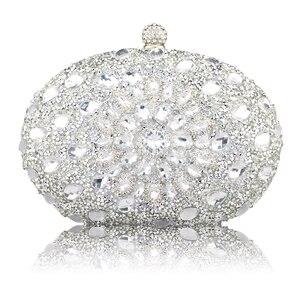 Image 5 - Luxe Clutch keten zak vrouw wedding diamond crystal Bloemen blauw rood Sling designer portemonnee mobiele telefoon zak portemonnee Handtassen