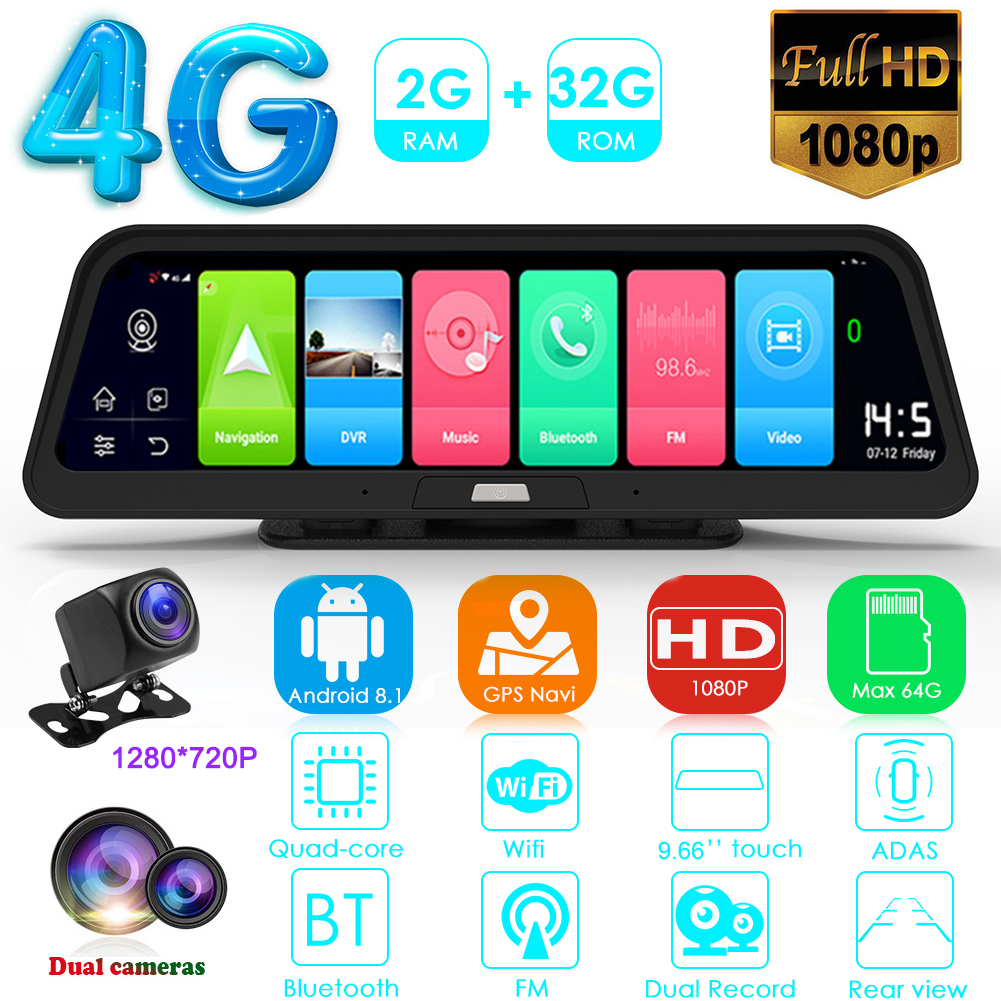 Android 8,1 Автомобильная DVR камера 9,66 дюймов приборная панель камера 4G WiFi ADAS GPS навигация видеорегистратор ночного видения с камерой заднего вид...