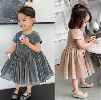 Girls Fashion Summer Dress Fashion Korean Mesh Short Sleeve Ball Gown Kids Dresses for Girls Toddler Baby Clothing Infant Dress