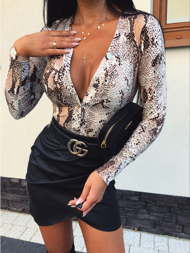Leopard Snake Skin Printed Sexy Bodysuits Women Romper Leotard Tops Long Sleeve Casual Slim V Neck Jumpsuits