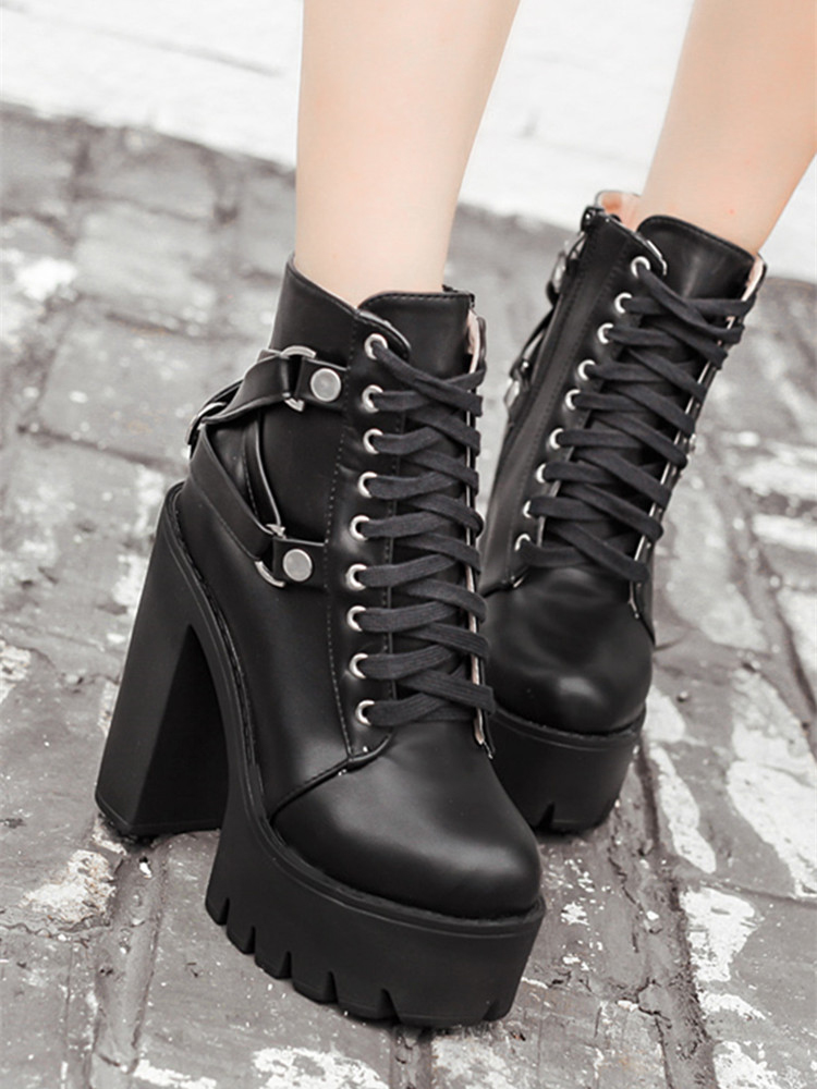 Gdgydh Black Boots Platform-Shoes Heel Punk Lace-Up Fashion Women Autumn Ankle Spring