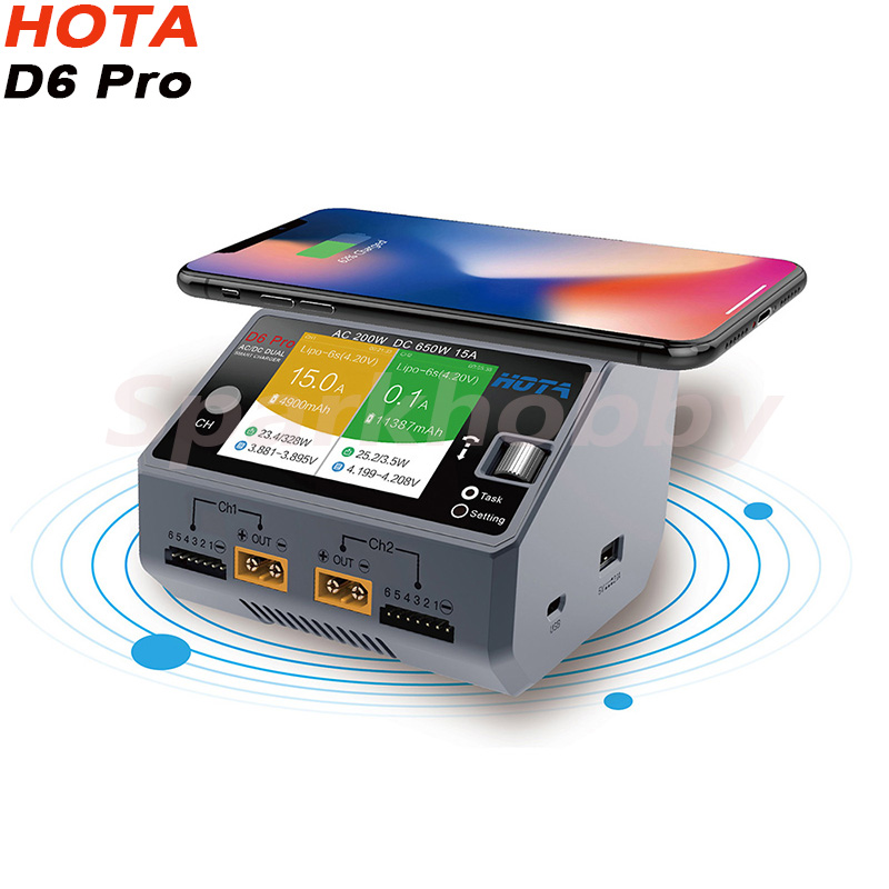 HOTA D6 Dual/Pro Smart Charger AC200W DC650W 15A Lipo LiIon NiMH Battery With IPhone Samsung Wireless Charging For RC FPV Drone