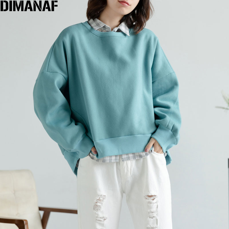 DIMANAF 2019 Plus Size Women Sweatshirts Batwing Sleeve Thickening Winter Lady Patchwork Blue Solid Pullovers Cotton Loose Tops