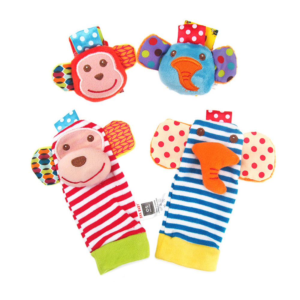 Infant Baby Kids Socks Rattle Toys Monkey And Elephant Wrist Rattle And Foot Socks Developmental Soft Toys For 0~24 Months Baby