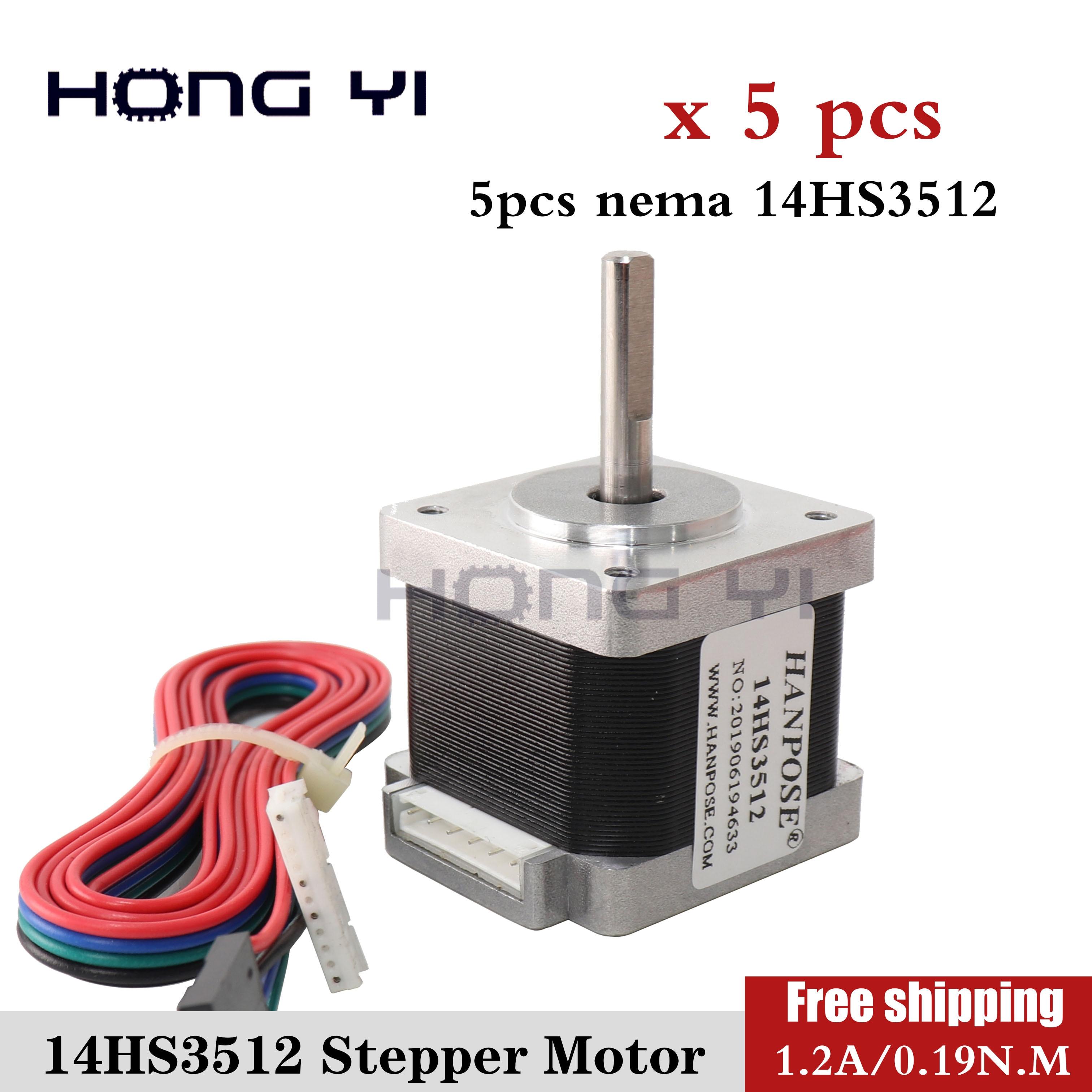 Free shipping 5PCS Nema14 Stepper motor 14HS3512 for Titan extruder 4 lead Nema 14 35mm 14 Motor For 3D Printer Parts