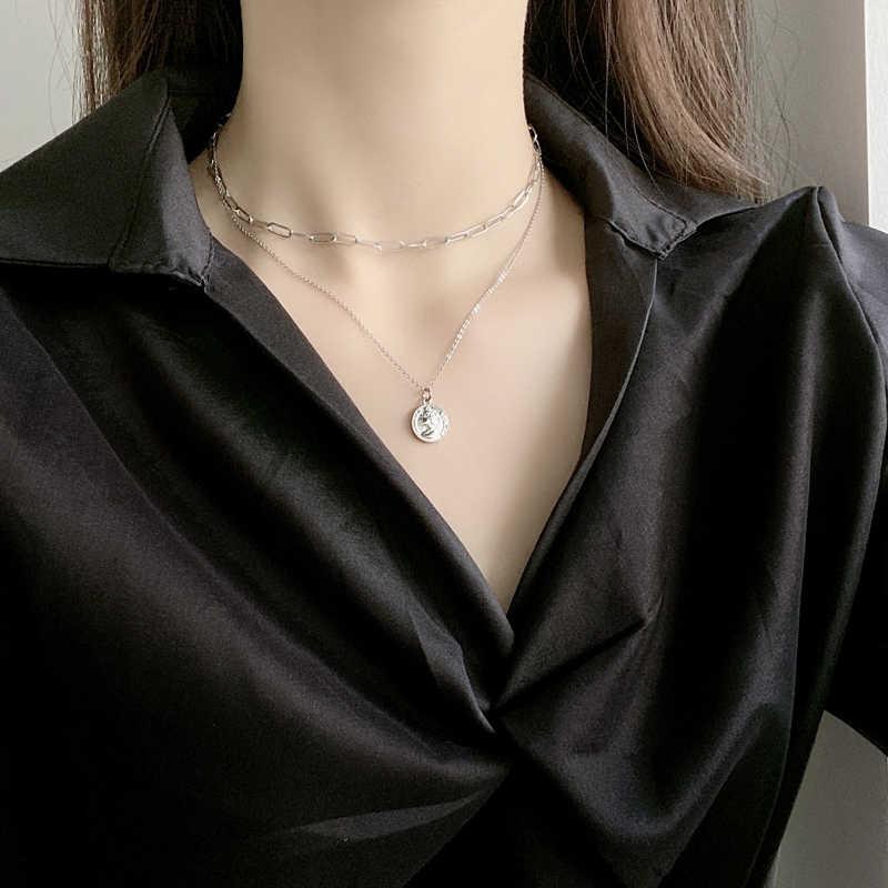 2020 كوريا جديد هندسية الجولة طبقة مزدوجة اللؤلؤ المرأة سلسلة قلادة الفتاة هدية حفلة مجوهرات بسيطة قلادة قلادة