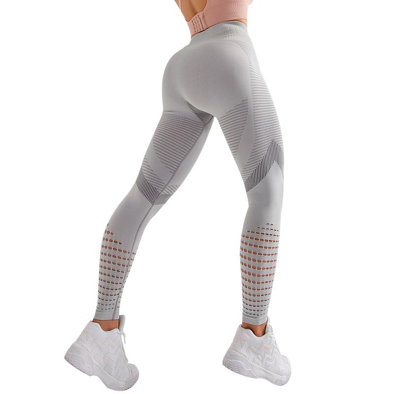 NORMOV New Women Fitness Leggings Solid High Waist Skinny Mesh Breathable Workout Push Up Leggings Female Quick-Drying Leggings