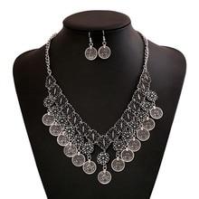 цена на Bohemian  Antique Silver Carved Flower  Coin Tassel Rhinestone  Pendant Necklace Earrings  Women Ethnic Fashion Jewelry Sets